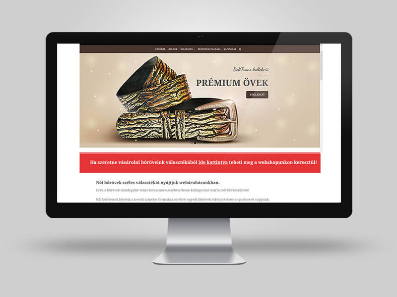 Belttrans - prémium bőrövek katalógus weboldal