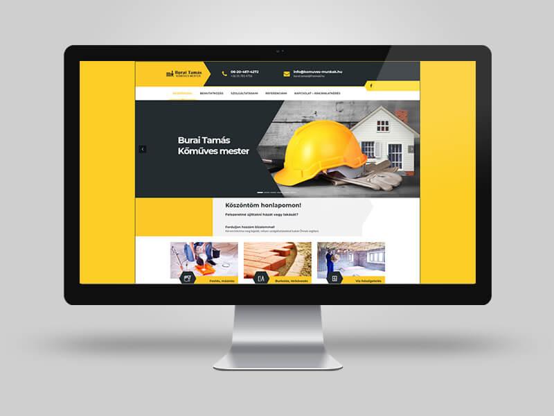Burai Tamás kőműves - bemutatkozó weboldal