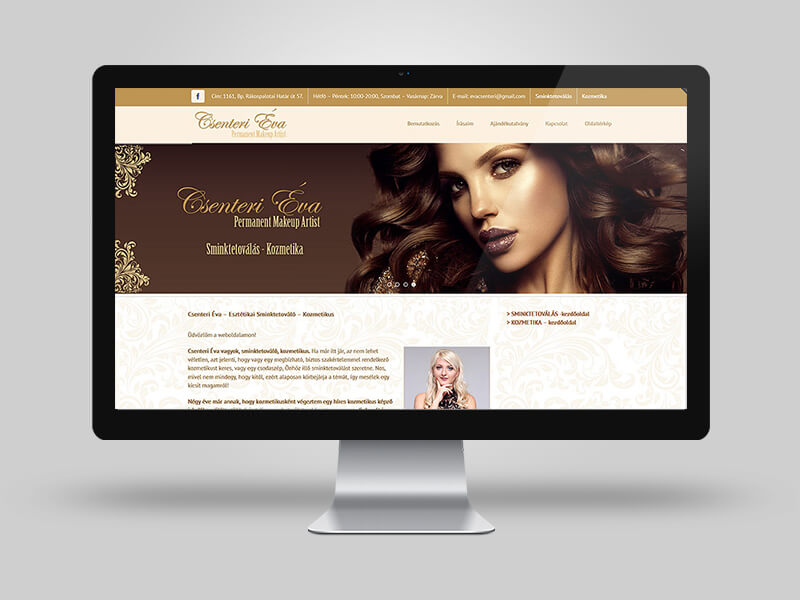 Csenteri Éva Sminktetoválás, kozmetika - bemutatkozó weblap
