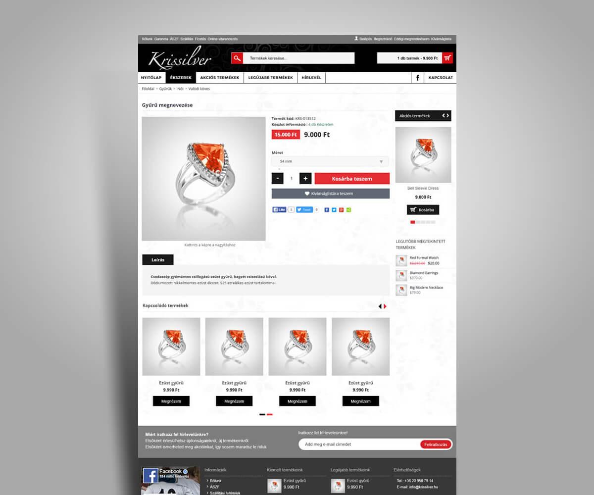 KrisSilver webáruház fejlesztés - mobilbarát weboldal tervezés