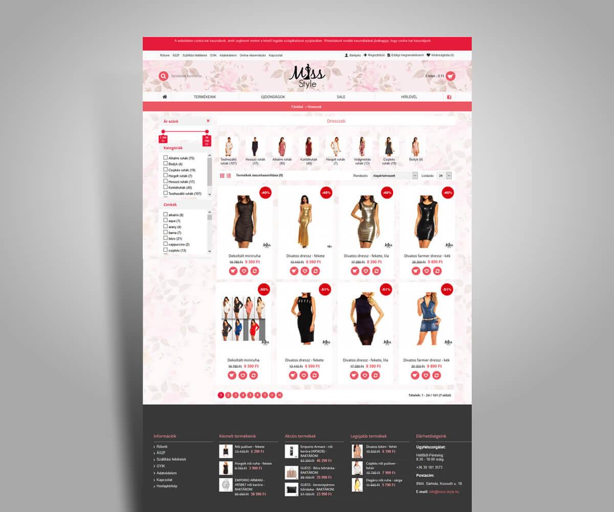 Miss Style webáruház fejlesztés - mobilbarát weboldal tervezés