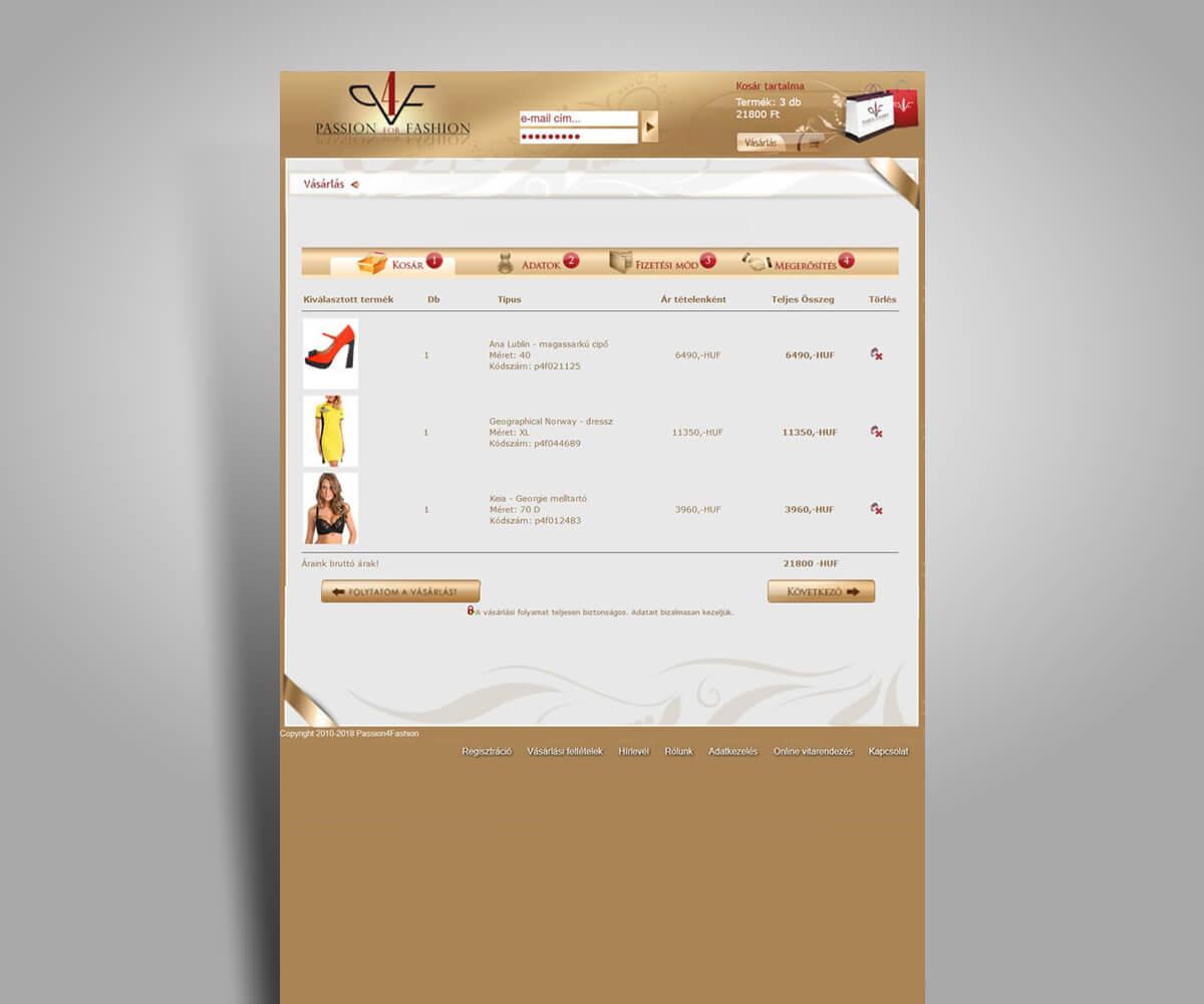 P4F-webáruház fejlesztés