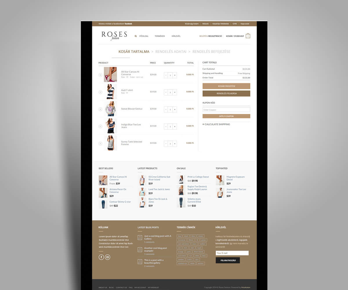 Roses Fashion webáruház fejlesztés - mobilbarát weboldal tervezés