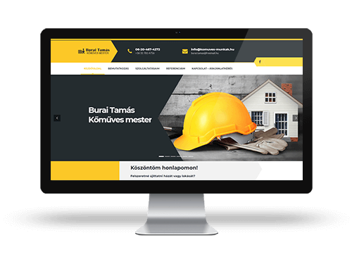 Burai tamás kőműves- bemutatkozó weblaplap tervezés