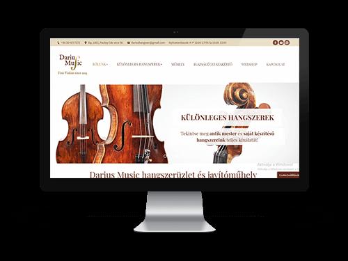 Darius Music Hangszerüzlet - cégbemutató weboldal készítés