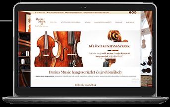 Dárius Music - cégbemutató és katalógus weboldal készítés