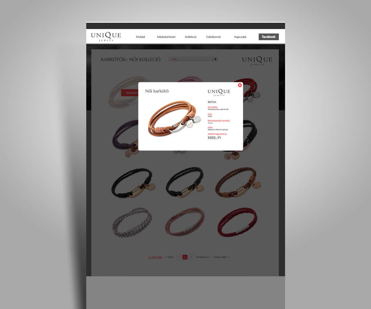 Unique Jewels online katalógus weboldal