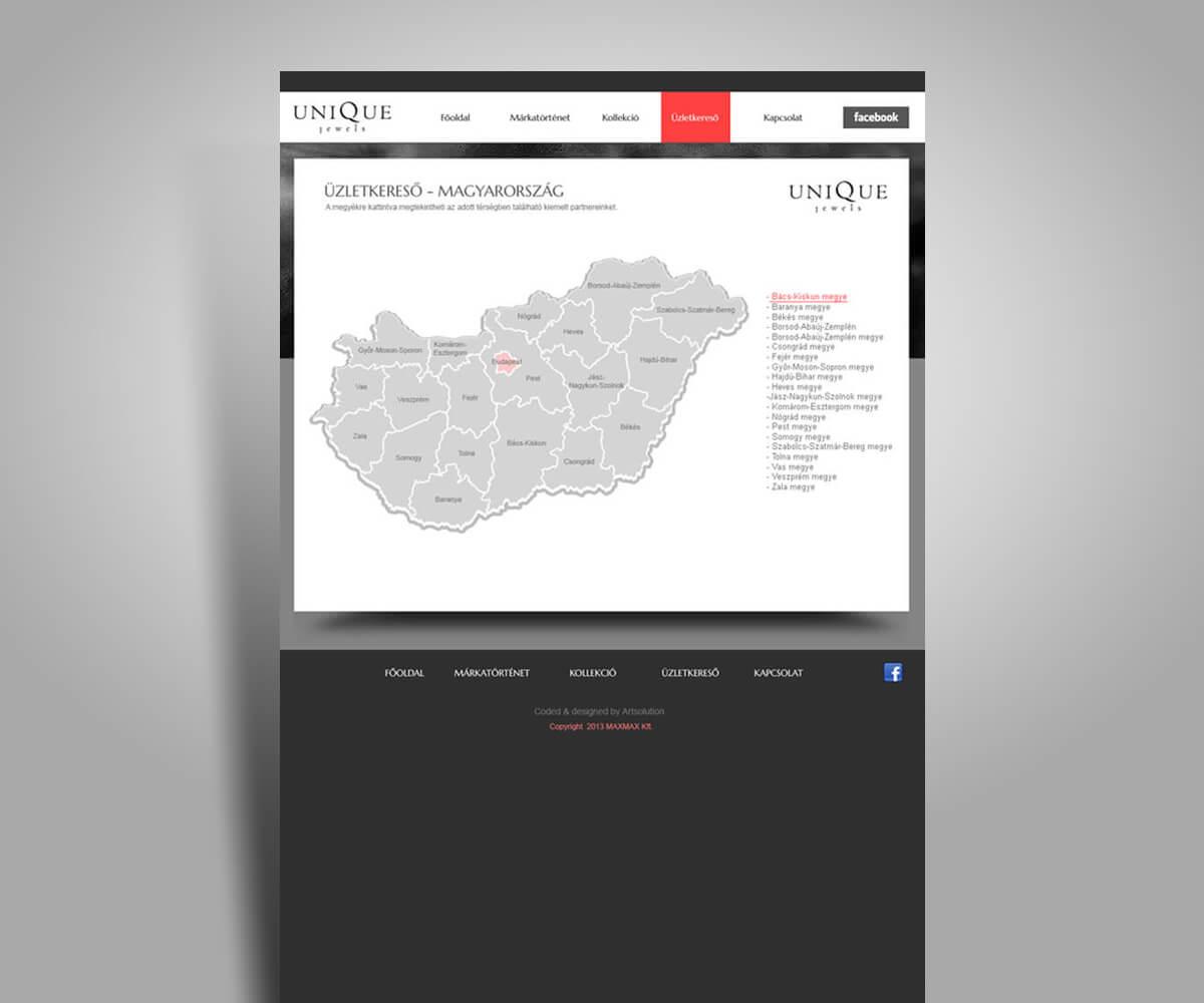 Unique Jewels online katalógus weboldal - mobilbarát weboldal tervezés