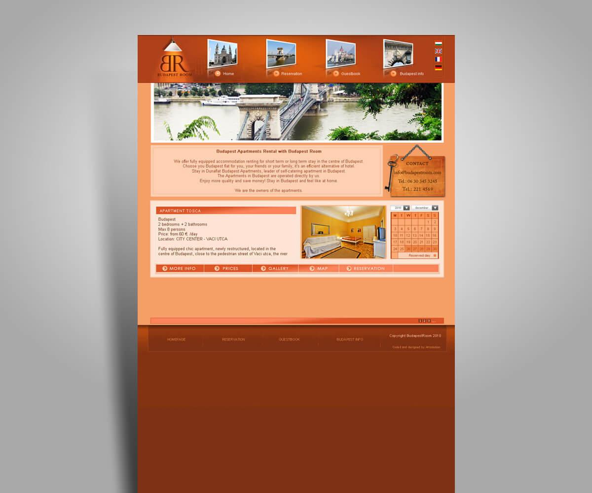 BudapestRoom - cégbemutató weboldal - mobilbarát weboldal tervezés