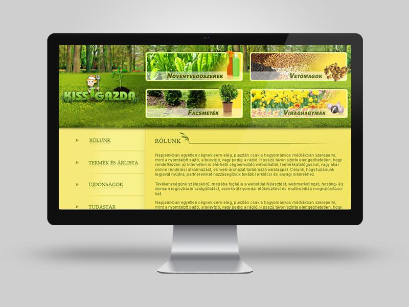 Kisgazda - termékbemutató weboldal