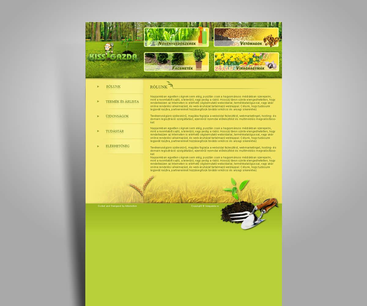 Kisgazda - termékbemutató weboldal - mobilbarát weboldal tervezés