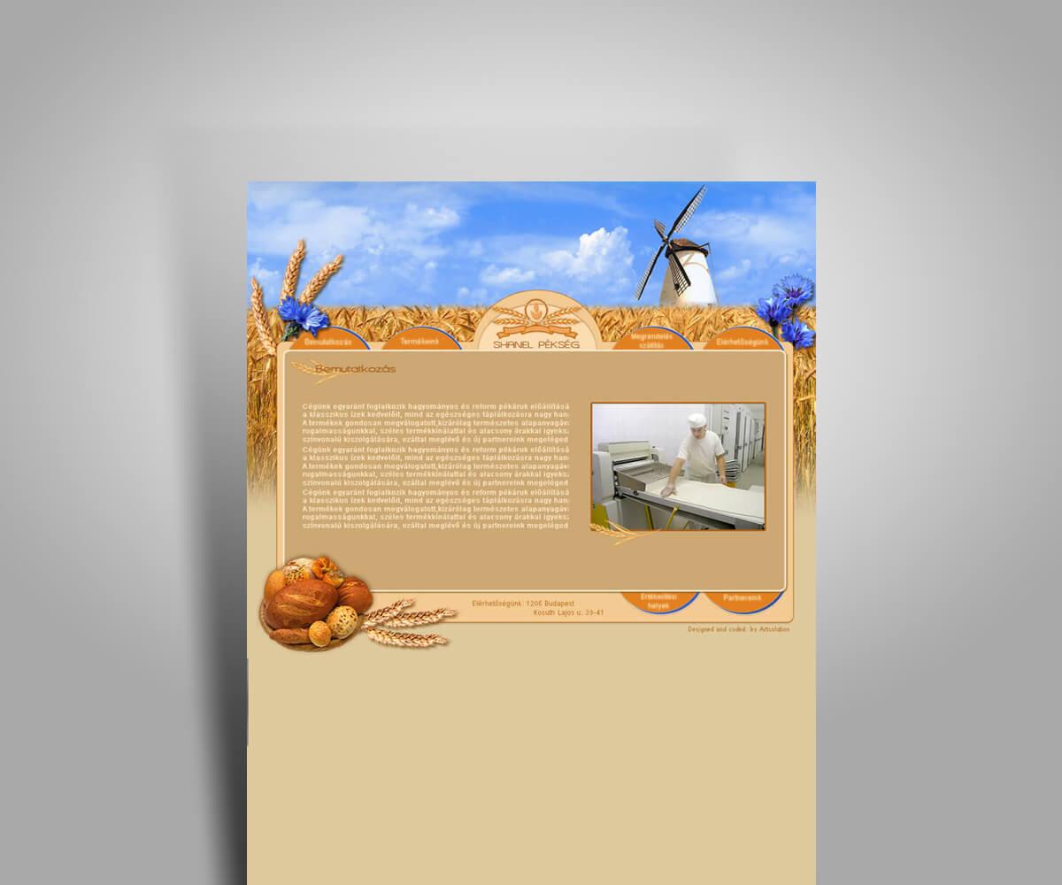 Chanel pékség - bemutatkozó weboldal - mobilbarát weboldal tervezés