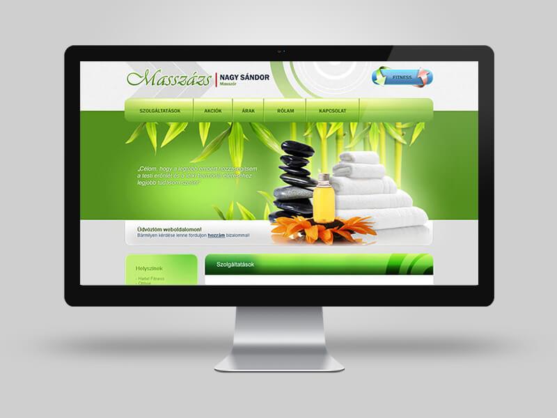 N. Sándor masszőr - bemutatkozó weboldal készítés