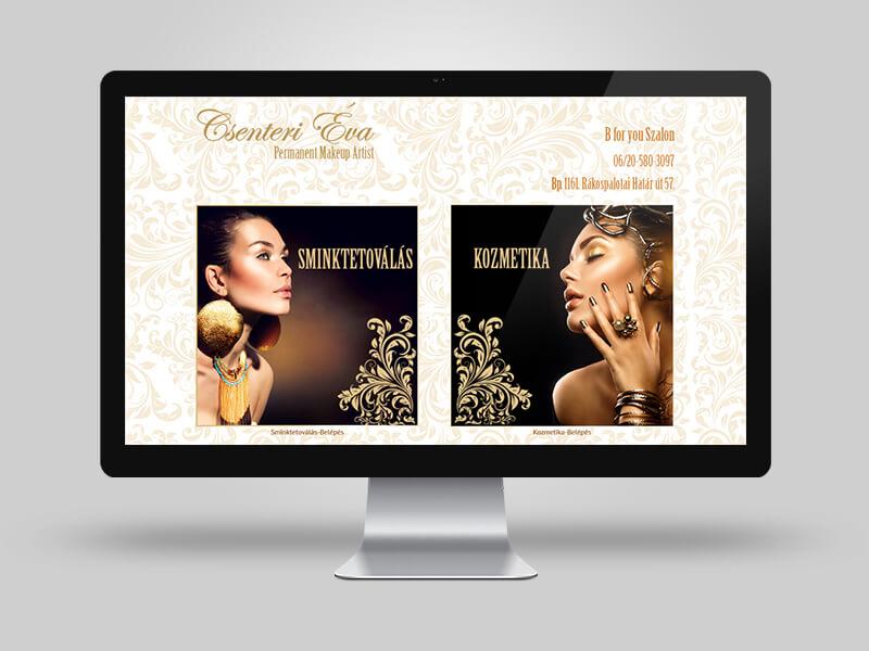 Csenteri sminktetoválás és kozmetika bemutatkozó weboldal