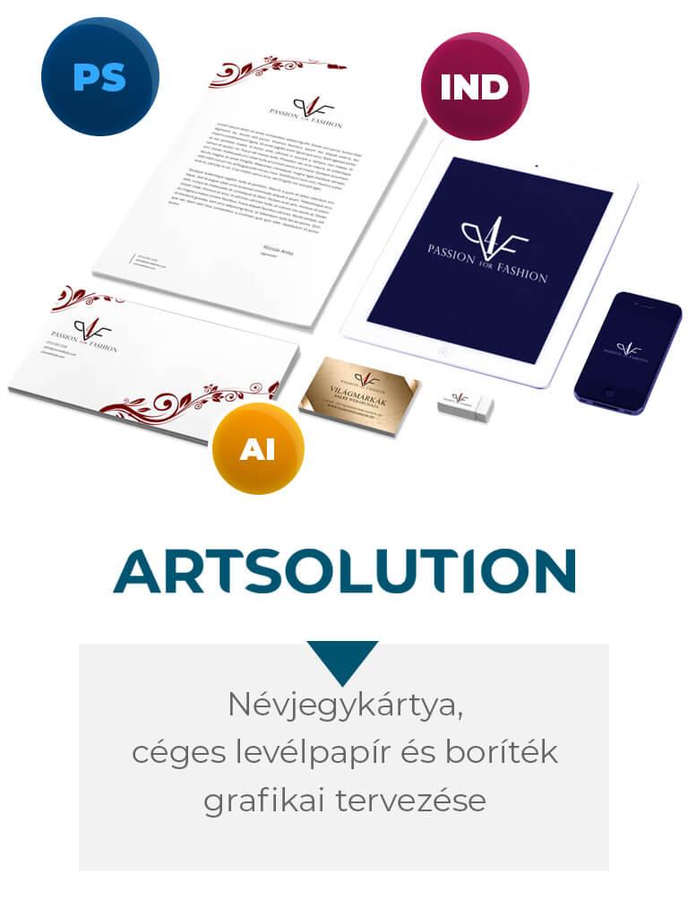 Névjegykártya, céges levélpapír és boríték grafikai tervezése